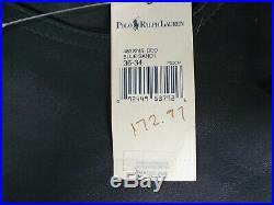 #124 New Polo Ralph Lauren Dark Blue 5 Pocket Leather Pants Mens 36 X 34