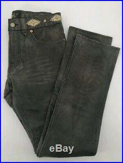 $1800 RRL Ralph Lauren 1940 Inspired Slim Fit 29 Studded distressed Leather Pant