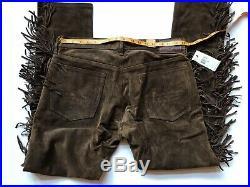 $1800 RRL Ralph Lauren Limited Edition Italian Suede Leather Western Pant-MEN-34