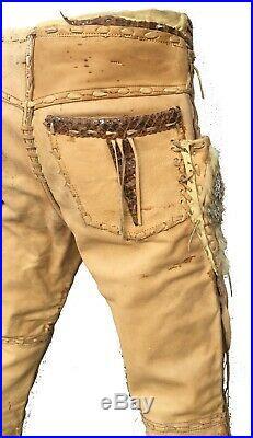 1960s Vintage Buckskin Suede Leather Men's Pants Native American Snakeskin Fur