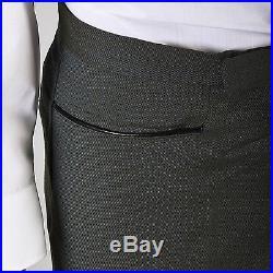 31x30 Mens NOS VTG 60s Mod Green Bronze Sharkskin Leather Trim Tapered Pants