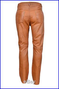 501 Men/'s Tan Real Genuine Nappa Premium Leather Motorcycle Biker Jeans Trouser