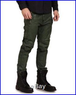 $648 DIESEL MENS PUMAY DARK GREEN LEATHER PANTS=EU 28 32X29