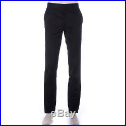 650$ Authentic New GIVENCHY Black Cotton Pants Men With Leather Logo Patch