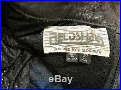 70s 80s Vintage Black Leather Men's Motorcycle Pants Fieldsheer Racing Street 34