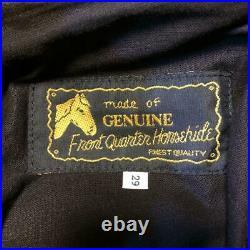 AERO LEATHER Front Quarter Horsehide Pants Men's Size 29 Black Biker From Japan