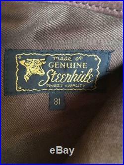 AERO LEATHER Pants Brown Steerhide Men's Genuine From Japan USED