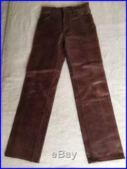 AERO LEATHER Pants Brown Steerhide Men's Genuine Waist 31inch Excellent+