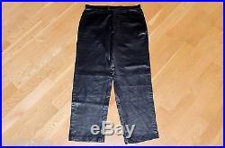 ALFANI Black 100% Genuine Leather Casual Pants Mens Sz 36 x 32 RARE