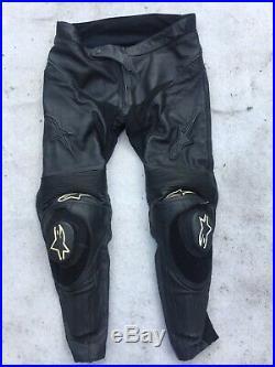 Alpinestars Leather Track Pants Trousers Uk40 Eur 56 Motorbike Motorcycle Mens