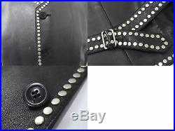 Authentic Gianni Versace Leather Setup Suit Vest Jacket Pants Studded Men D1163