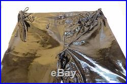 Authentic Gucci Mens Patent Black Leather Pants Euro Size 48