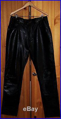 BARELY WORN MEN'S LEATHER MOTORCYCLE PANTS. SIZE 36X34-36 FREE PRIORITY SHIP