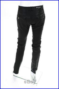 Balmain Mens Biker Zipper Ankle Pants Black Leather Size 50