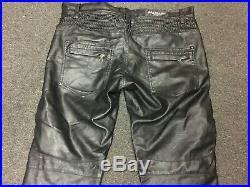Balmain Mens Black Leather Moto Pants Size 34 (Read Description)