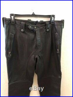 Belstaff Black Motorcycle Leather Pants w Racing Stripes sz 48 Mr S Leather RoB