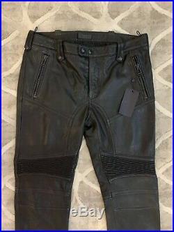 Belstaff Mens Black TELFORD Biker Leather Pants Trousers Sz IT 48 UK 38 /31 32