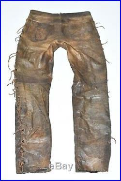 Brown Real Leather PANTERA Lace Up Biker Men's Trousers Pants Size W30 L31