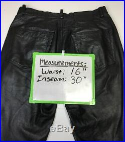 Calvin Klein CK Mens 100% Leather Motorcycle Pants Size 32 x 30 Button Fly Black