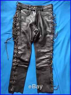 Classic Gear by Hein Gericke Black Leather Mens pants 40 motorcycle trousers