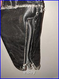 Crust Scab Punk Leather Motorcycle Biker Pants DIY Men's 1 of 1 Size 34