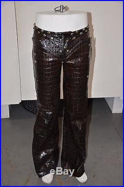 Custom Made Men Brown & Black Leather Pants with Studs Handmade Size 32