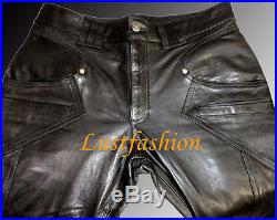 DESIGNER Leather trousers new black men s leather pants Lederhose schwarz neu