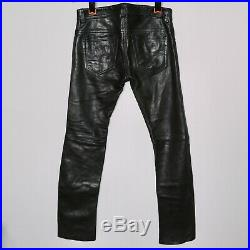 DIESEL Black Soft Lamb Leather Motorcycle Biker Jeans Pants Mens Size 29 x 30