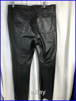 DIESEL INDUSTRY Men's BLACK LEATHER PANTS Size 36 X34