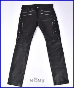 DIESEL Leather Biker Style Motorcycle Men Pants Trousers Size 29