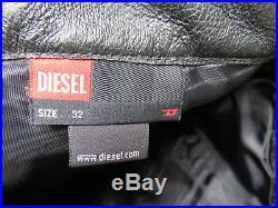 DIESEL Leather Pants Men Size 32x32 Lined to Knee Black Motorcycle Biker