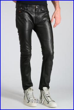 01831327 DIESEL New Man Black Leather Five Pockets P-THAVAR-L Pants Trousers NWT  Original