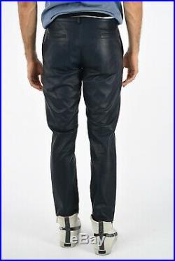 DROMe New Man Blue Soft Lamb Leather Pleated Casual Pants Trouser Slacks Size M