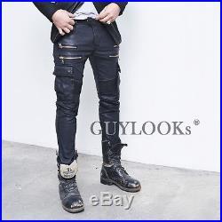 Designer Hom Mens Wax Coat Faux Leather Seaming Skinny Cargo Biker Pants Guylook