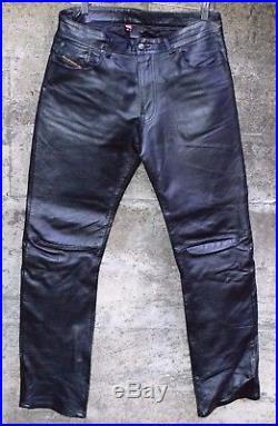 Diesel Industries Leather Pants vintage designer denim motorcycle jeans mens 32