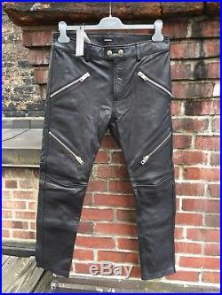 Diesel Mens Leather Pants Biker Jeans P Yardy 33 Black Zippers $800 Calf Skin