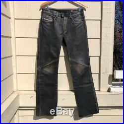 Diesel Mens Weathered Pants Black Button Fly Pockets 100% Leather 30 X 31
