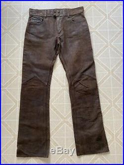 Double RL Ralph Lauren Mens Leather Biker Pants 34/34 Rockstar Cowboy