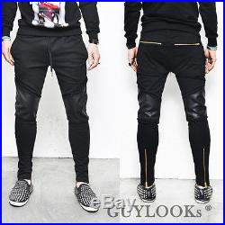 Faux Leather Knee Gold Zipper Leg Mens Slim Black Biker Jer Sweatpants Guylook
