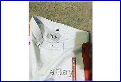 Franky baca Mens Black white stripe Leather Pant Biker Moto 30 32 34 36 designer