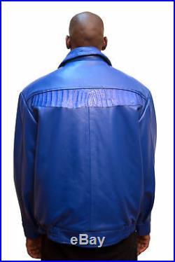 G-Gator Men's Royal Blue Leather Jacket & Denim Pants Alligator Trim Set 2XL