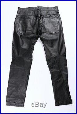 G. Star Raw Mens Black Lamb Leather Biker Moto Jeans Pants 33 34 x 31