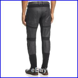 G-Star Raw Mens Motac Black Leather Label Coated Moto Pants 33/32 BHFO 2938