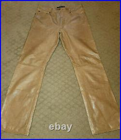 GAP Men's Leather Pants Light Brown 35 x 34 Fully Lined GREAT FIND! RARE