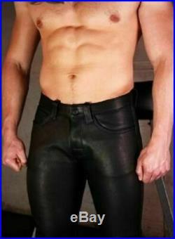 Genuine Leather Men's Pants Goat Skin Motorcycle Black Genuine Skin Gay Trousers