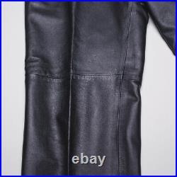 Gianni Versace Leather Pants Size 36 Black Pleated Vintage Moto Biker
