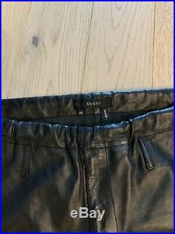 Gucci Men Black Leather Pants Size 54