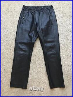 Gucci Mens Leather Pants Sweatpants Size 50