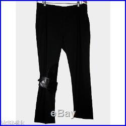HELMUT LANG Mens Leather Trim Virgin Wool Trouser Pants Black 38 52 Italy