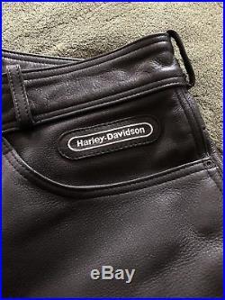 Harley Davidson Mens Black Leather Riding Pants Size 36 Waist 32 1/2 Inseam